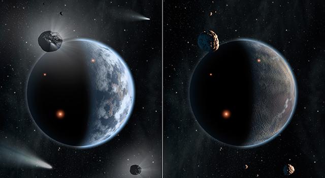 pianeta liquido e pianeta secco