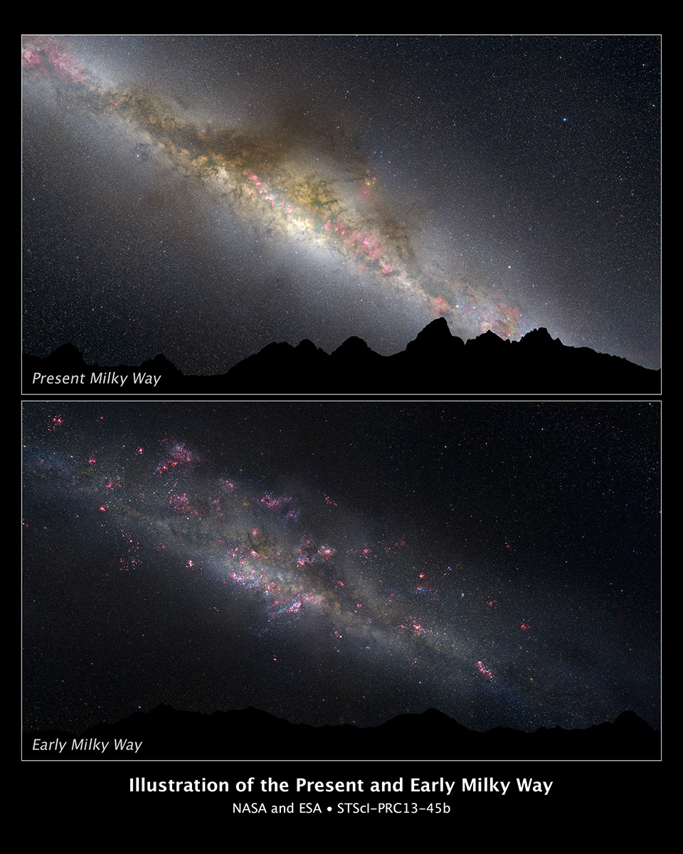 la Via Lattea originaria e quella attuale
