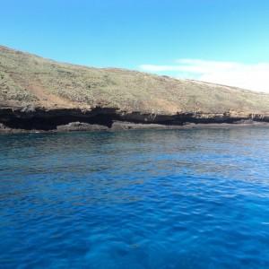 Figura 15. Maui. L'isolotto di Molokini, resto di un antico cratere. Uno dei migliori posti per vedere la barriera corallina e i suoi abitanti. La limpidezza dell'acqua è unica e permette di scorgere perfettamente il fondale fino a 30 metri di profondità.