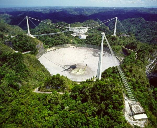 """Il radio-mostro di Arecibo è sistemato in una depressione naturale e ha un diametro di 305 metri. Non può muoversi, ma quando qualcosa entra nel suo campo di """"vista"""" è difficile che scappi. Fonte: NAIC - Arecibo Observatory"""