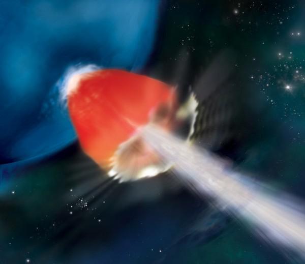 La supergigante blu, povera di metalli, potrebbe mostrare un getto (bianco) ad altissima energia, circondato da un involucro di gas riscaldato che emette nell' X (zona rossa). Fonte: NASA/Swift/A. Simonnet, Sonoma State Univ.
