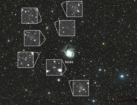 """L'immagine finale, con la """"star"""" M 101 e le """"sue"""" (?) sette sorelle. Fonte: Yale University"""
