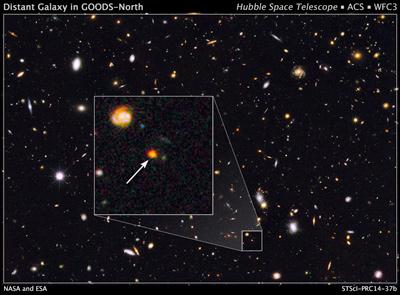 L'immagine di Sparky ottenuta da Hubble nell'infrarosso. Fonte: NASA,ESA and G. Illingworth (University of California, Santa Cruz), and the GOODS team