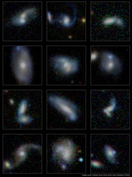 Qualcuna delle migliaia di galassie interagenti, identificate dalla survey GAMA. Fonte: Simon Driver e Aaron Robotham, ICRAR.