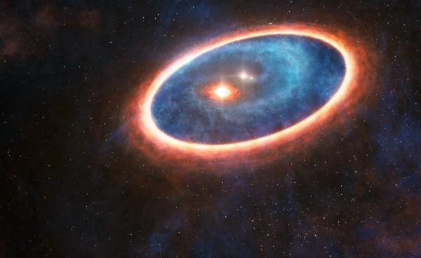 Questa visione artistica mostra la polvere e il gas che orbita attorno al sistema triplo e il disco attorno alla stella centrale. Mostra, però, anche la strada che sembra portare materia da quello esterno a quello interno, malgrado l'ambiente terribilmente perturbato. Si noti come parte della polvere finisca nella doppia stretta. Se si pensa che circa la metà delle stelle di tipo solare sono nate in sistemi doppi, capire questo tipo di meccanismo di trasferimento è di importanza veramente generale. Fonte : ESO/L.Calçada, ALMA (ESO/NAOJ/NRAO)