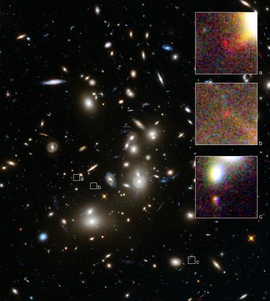 Il cuore del superammasso Abel 2744, conosciuto anche come ammasso di Pandora, in un'immagine di Hubble. I tre riquadri mostrano le immagini, dovute all'effetto lente, della galassia estremamente debole e lontana che ha mostrato un redshift di 10; ossia la sua luce ha impiegato ben 13 miliardi di anni per giungere fino a noi. La dispersione delle tre immagini, relative a una singola sorgente, ha permesso di stabilire la distanza con un'accuratezza mai raggiunta finora. Fonte: NASA, ESA, A. Zitrin (Caltech), and J. Lotz, M. Mountain, A. Koekemoer, and the HFF Team (STScI).
