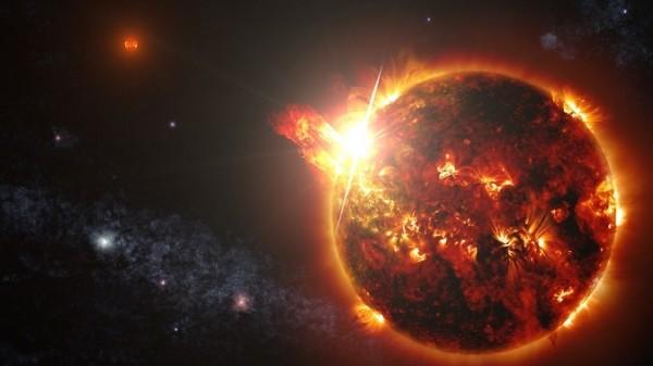 """Visione artistica del sistema doppio di """"Rosette"""" DG CVn. Fonte: NASA Goddard Space Flight Center/S. Wiessinger"""