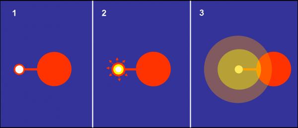 Figura 1. Tre fasi della formazione di una Nova. In (1) la piccola nana bianca accumula sulla sua superficie l'idrogeno regalatagli dalla compagna. In (2) lo spessore raggiunto è sufficiente per innescare la fusione dell'idrogeno nella zona di contatto tra nana bianca e strato di idrogeno. L'energia liberata espelle lo strato di idrogeno a grande velocità e fa brillare una stella ormai spenta. In (3), dopo pochi giorni, la nube più o meno sferica inonda lo spazio circostante e continua  a essere visibile per un periodo di qualche mese, permettendo studi molto accurati sul processo fisico avvenuto.