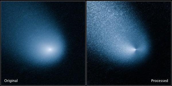 Una recente immagine della cometa ripresa da Hubble. A sinistra quella grezza e a destra quella filtrata. Essa è stata ripresa con la fantastica Wide Field Camera 3. Fonte: NASA's Hubble Space Telescope