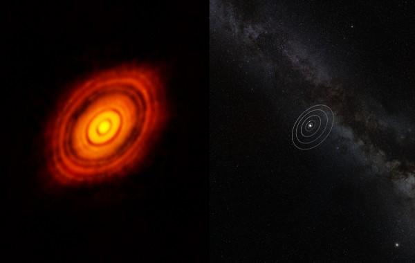 Un confronto con il Sistema Solare. E' circa 3 volte più grande. Ne aveva di gas e polvere a disposizione...
