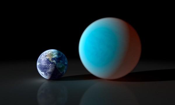 Visione artistica di 55 CNC e confrontato con la nostra Terra, Fonte: NASA/JPL.