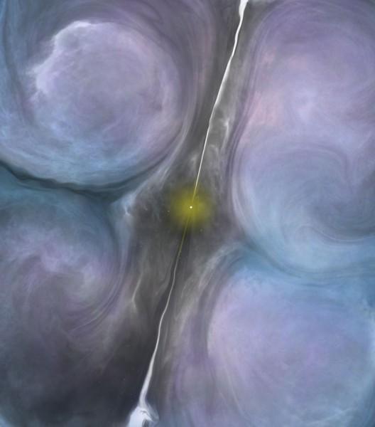"""Visione artistica della regione centrale di NGC 1266. I getti del buco nero centrale creano una tale turbolenza nelle nubi molecolari circostanti da bloccare quasi del tutto la possibilità di far nascere nuove stelle, malgrado le condizioni della """"materia prima"""" siano più che favorevoli. Fonte: B. Saxton (NRAO/AUI/NSF)"""
