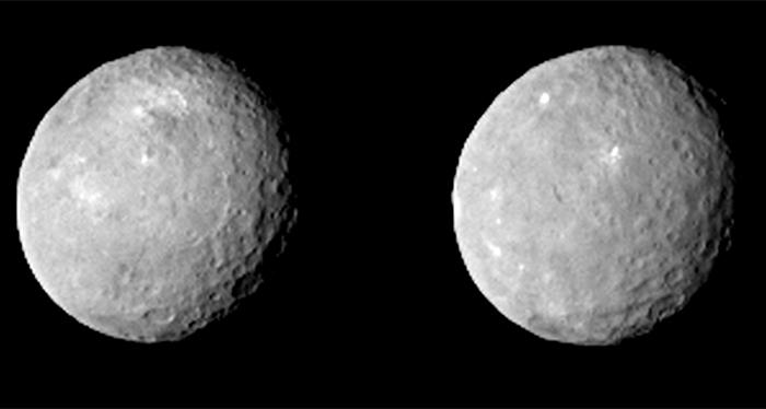 Immagini di Cerere prese il 12 febbraio da 83 000 km. Fonte: Dawn/NASA