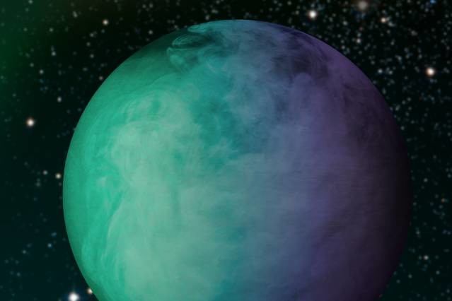 Un'immagine artistica di Kepler-7b. Questo enorme giove caldo è ccoperto di nuvole. Simulazioni basate su più di 1000 modelli atmosferici mostrano che queste nuvole sono formate da enstatite, un minerale commune sulla Terra, che si trasforma in vapour nell'infuocato esopèianeta. I modelli variano parametri come l'altezza delle nuole, la composizione, la condensazione, le dimensioni delle particelle in modo da trovare la riflettività e le proprietà di colore e riflettività che meglio concordano cone le osservazioni.. fonte: Courtesy of NASA/Jose-Luis Olivares/MIT.
