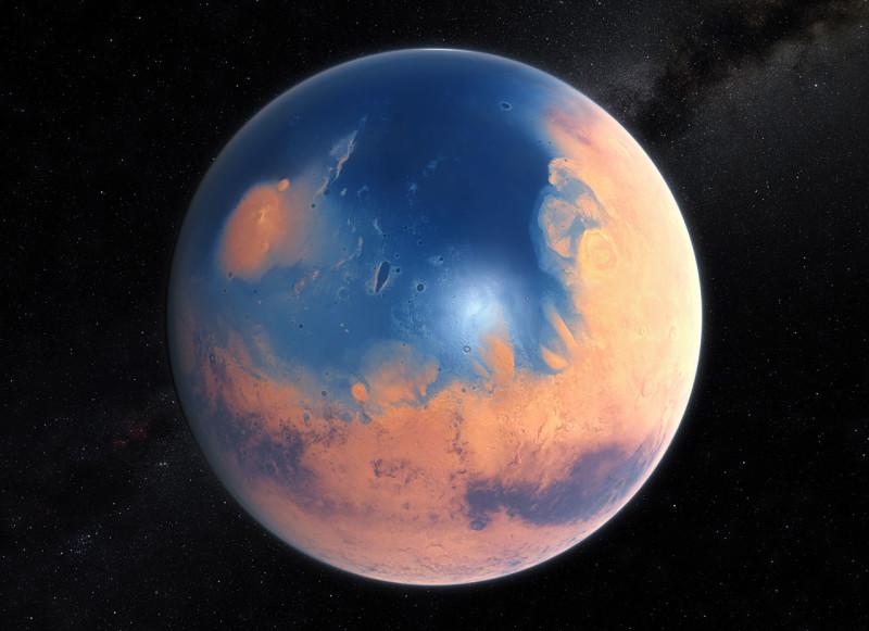 Ricostruzione artistica di Marte come poteva apparire quattro miliardi di anni fa. Un enorme oceano copre l'emisfero nord raggiungendo una profondità di 1600 metri. Fonte: ESO/M. Kornmesser/N. Risinger (skysurvey.org)