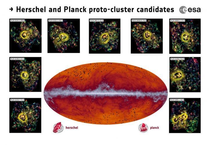 """Questa immagine mostra molto bene il perfetto lavoro di coppia. Al centro la mappa submillimetrica di Planck. La striscia al centro è il """"rumore"""" dovuto alla nostra galassia. I punti neri sono, invece, i candidati a essere i proto-ammassi di galassie. Tutt'attorno qualche esempio delle osservazioni fatte su di essi da Herschel, in cui le linee curve rappresentano la densità di galassie. Fonte: ESA and the Planck Collaboration/ H. Dole, D. Guéry & G. Hurier, IAS/University Paris-Sud/CNRS/CNES"""