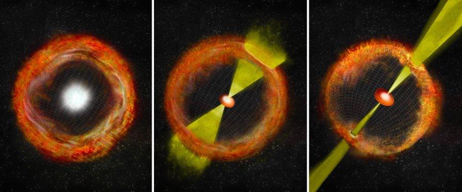 """Una classica supernova senza """"motore"""" centrale, il material che si espande verso l'esterno assume una forma praticamente sferica 8sinistra). Se, si forma un disco di accrescimento attorno al nucleo il """"motore"""" riesce a scagliare getti molto collimati ed energetici che producono GRB, anche se di breve durata a causa del rallentamento causato dalla materia circostante (destra). Potrebbe però esistere una via di mezzo, dove il """"motore"""" disco-nucleo è meno efficiente, i getti meno energetici e non si originano lampi gamma (centro). Fonte: Bill Saxton, NRAO/AUI/NSF"""