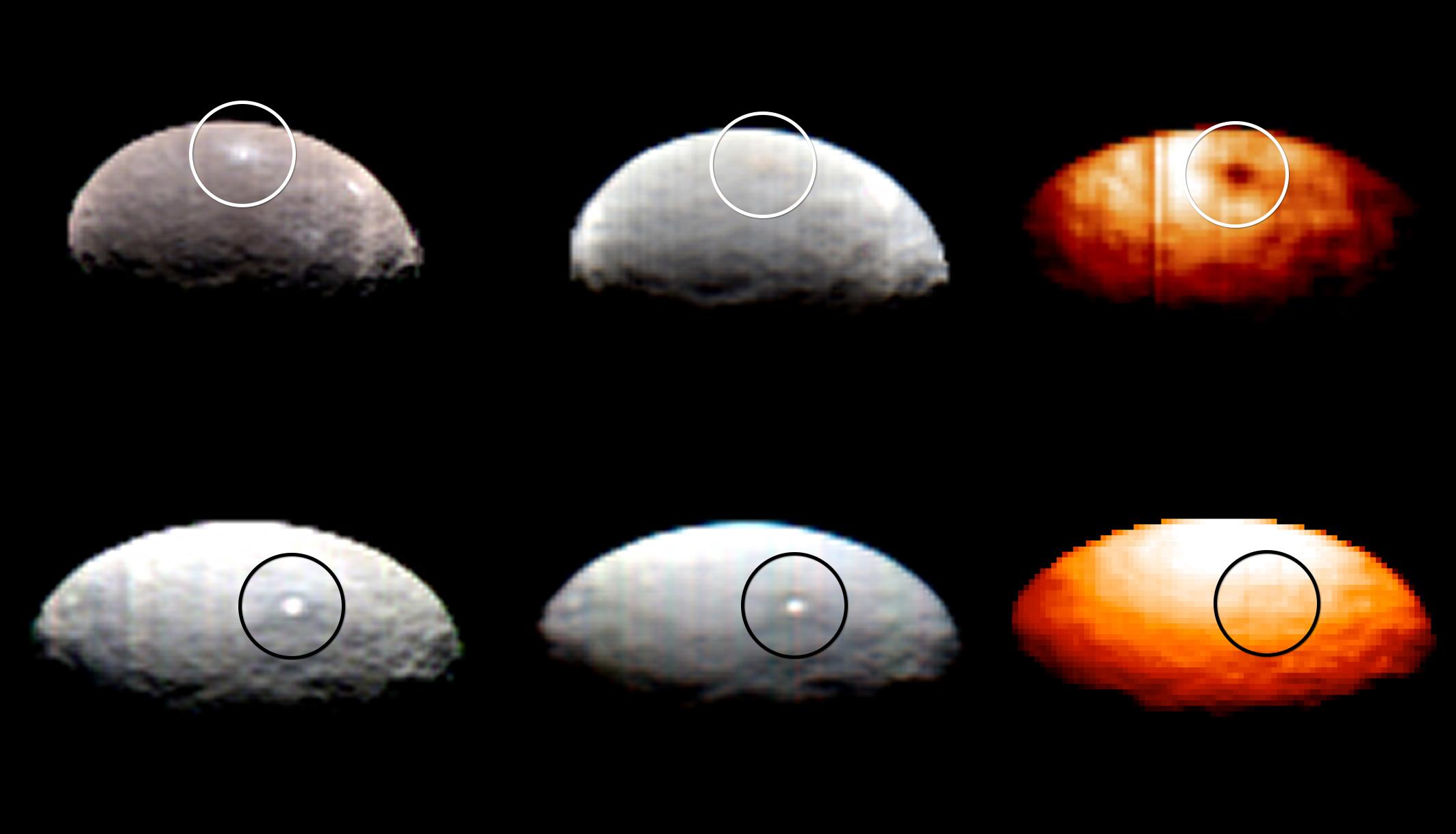 Le macchie 1 (sopra) e 5 (sotto),  osservate nelle lunghezze d'onda del visibile (sinistra), dell'infrarosso (centro) e nell'infrarosso termico (destra), indicano chiaramente che la prima è decisamente più fredda del terreno in cui si trova, mentre la seconda ha una temperatura analoga. Neve fredda e neve calda? Fonte: NASA/JPL-Caltech/UCLA/ASI/INAF
