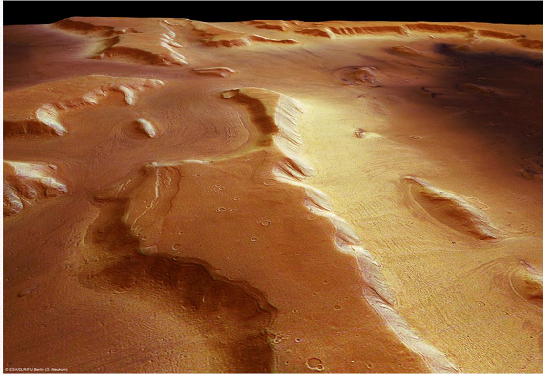 Ecco come appaiono i ghiacciai alla High Resolution Stereo Camera: suolo marziano polveroso e poco di più… Fonte: ESA/DLR/FU Berlin.