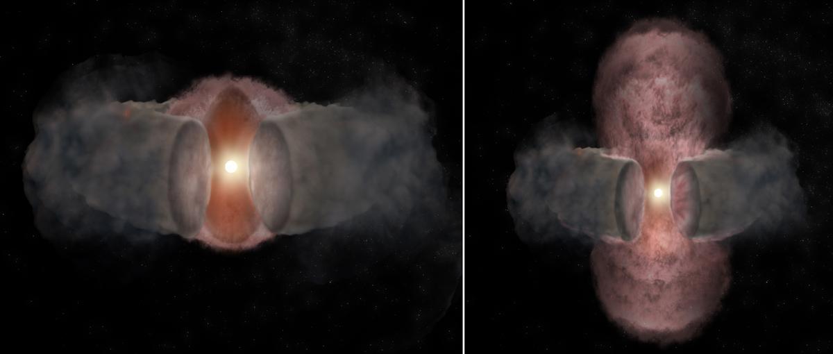 A sinistra la giovane stella si sta espandendo in modo pressoché sferico e il disco equatoriale non riesce ancora a selezionare l'emissione di particelle ionizzate. A destra, solo dopo 18 anni, i getti sono chiaramente indirizzati nelle direzioni polari.Fonte: Bill Saxton, NRAO/AUI/NSF
