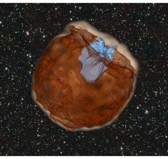 La simulazione di ciò che può capitare a una supernova nel caso del modello degenere singolo. Il materiale espulso (color marrone) collide violentemente con la compagna e produce un lampo ultravioletto (colore azzurro). Fonte: Dan Kasen