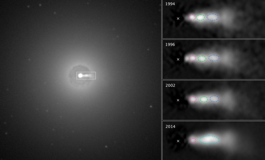 """A sinistra, un'immagine, ripresa da Hubble, della regione centrale della galassia NGC 3862, in cui si nota molto bene un getto di materia che si muove a velocità effettiva molto vicina a quella della luce. A destra, una sequenza di immagini in cui si vedono i """"nodi"""" di materia (segnati in rosso, verde e blu) che si spostano lungo il getto durante venti anni. Si nota chiaramente che il nodo verde centrale raggiunge e """"ingoia"""" il nodo rosso che lo precedeva. La X segna la posizione del buco nero. Fonte: NASA, ESA, e E. Meyer (STScI)"""