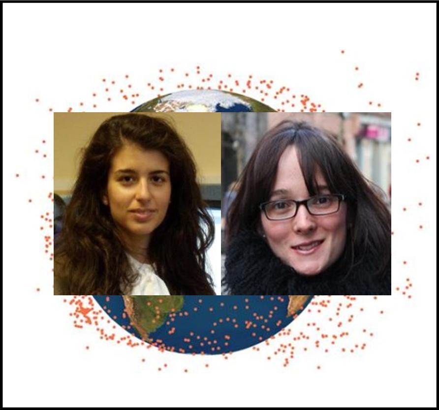 Le due scienziate italiane attualmente in Gran Bretagna (Francesca Letizia, a sinistra, e Camilla Colombo, a destra) con lo sfondo della posizione dei frammenti visibili causati dell'esplosione del satellite americano DMSP-F13. Spero di non avere leso la privacy delle due ricercatrici, dato che le foto le ho trovate sul web… In caso, contrario chiedo scusa!