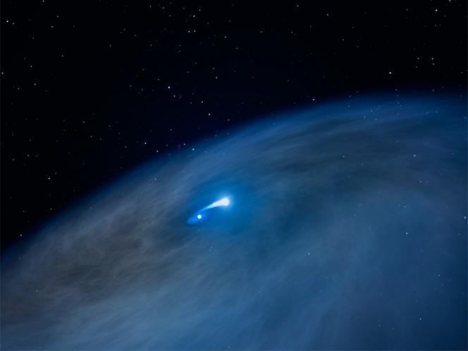 Una visione artistica del sistema doppio di Nasty 1 mentre avviene lo scambio di massa. La coppia è circondata da un disco enorme di materiale che resta in attesa di disperdersi piuttosto rapidamente. La compagna non riesce a divorare tutto ciò che le viene regalato. Fonte: NASA, ESA e G. Bacon (STScI)