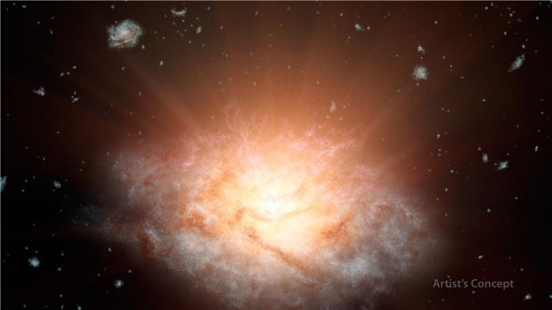 Un'immagine artistica di WISE J224607.57-052635.0, la galassia più luminosa del cielo, capace di risplendere nell'infrarosso come 300 trilioni di stelle come il Sole. Fonte: NASA/JPL-Caltech