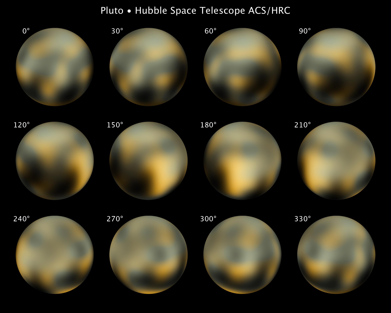 """Hubble ci ha mostrato una versione """"arlecchino"""" di Plutone, ben lontana da una monotona scala di grigi."""