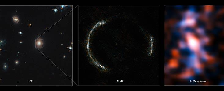 A sinistra la galassia lente vista da Hubble (l'anello di Einstein è visibile a malapena). L'immagine di mezzo mostra l'anello quasi perfetto visto da ALMA della galassia lontana, amplificata e deformata. A destra vediamo la stupefacente immagine ricostruita sulla base dei dati precedenti: si notano strutture che non sono altro che nubi molecolari in agitazione, il luogo delle future nascite stellari. Stelle e pianeti nati più di undici miliardi di anni fa, quando la Terra era ancora nei sogni della Via lattea.Fonte: ALMA (NRAO/ESO/NAOJ)/Y. Tamura (The University of Tokyo)/Mark Swinbank (Durham University)