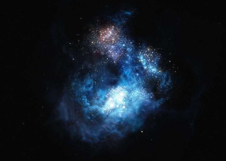 Immagine artistica di CR7, con le nostre antenate splendenti come gioielli. Fonte: ESO/M. Kornmesser