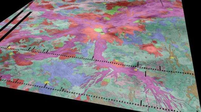 """Vulcani attivi su Venere!. Al centro si vede l'Ozza Mons, circondato da migliaia di chilometri di fessure. Lungo queste ultime sono stati individuati """"punti caldi"""", in cui vi è fuoriuscita di lava. Fonte: Ivanov/Head/Dickson/Brown University"""