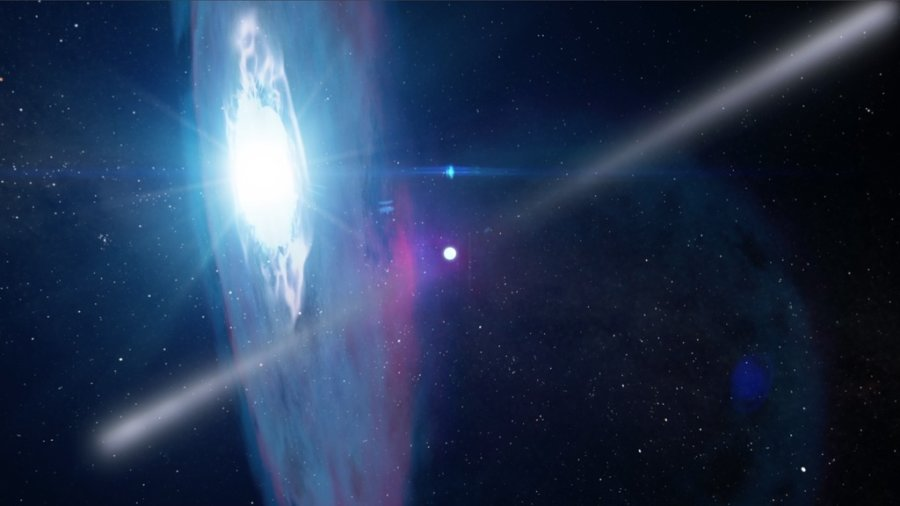 Gli astrofisici si aspettano esplosioni di enorme energia quando la pulsar J2032 attraverserà il disco di gas e polvere che circonda la compagna, una stella di tipo Be, nel 2018.. Si sta già preparando una campagna globale per osservare il fenomeno in tutto lo spettro elettromagnetico, dalle onde radio ai raggi gamma. Fonte: NASA's Goddard Space Flight Center