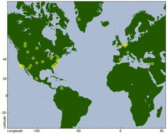 I luoghi dove sono state svolte le analisi dell'Università di Santa Barbara. Fonte: UCSB
