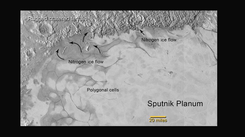 """L'immagine che riprende le """"placche"""" ghiacciate poligonali e la zona più antica, altamente craterizzata, che è stata invasa dal ghiaccio in movimento. Fonte: NASA/JHUAPL/SWRI"""
