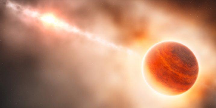 La formazione del pianeta gigante (a destra) vicino alla stella HD 100546 (sinistra) non è ancora completata. Si potrà assistere al parto!  Fontet: ESO / L. Calçada