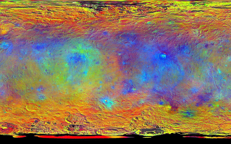 La mappa a falsi colori  di Cerere prodotta dalla NASA
