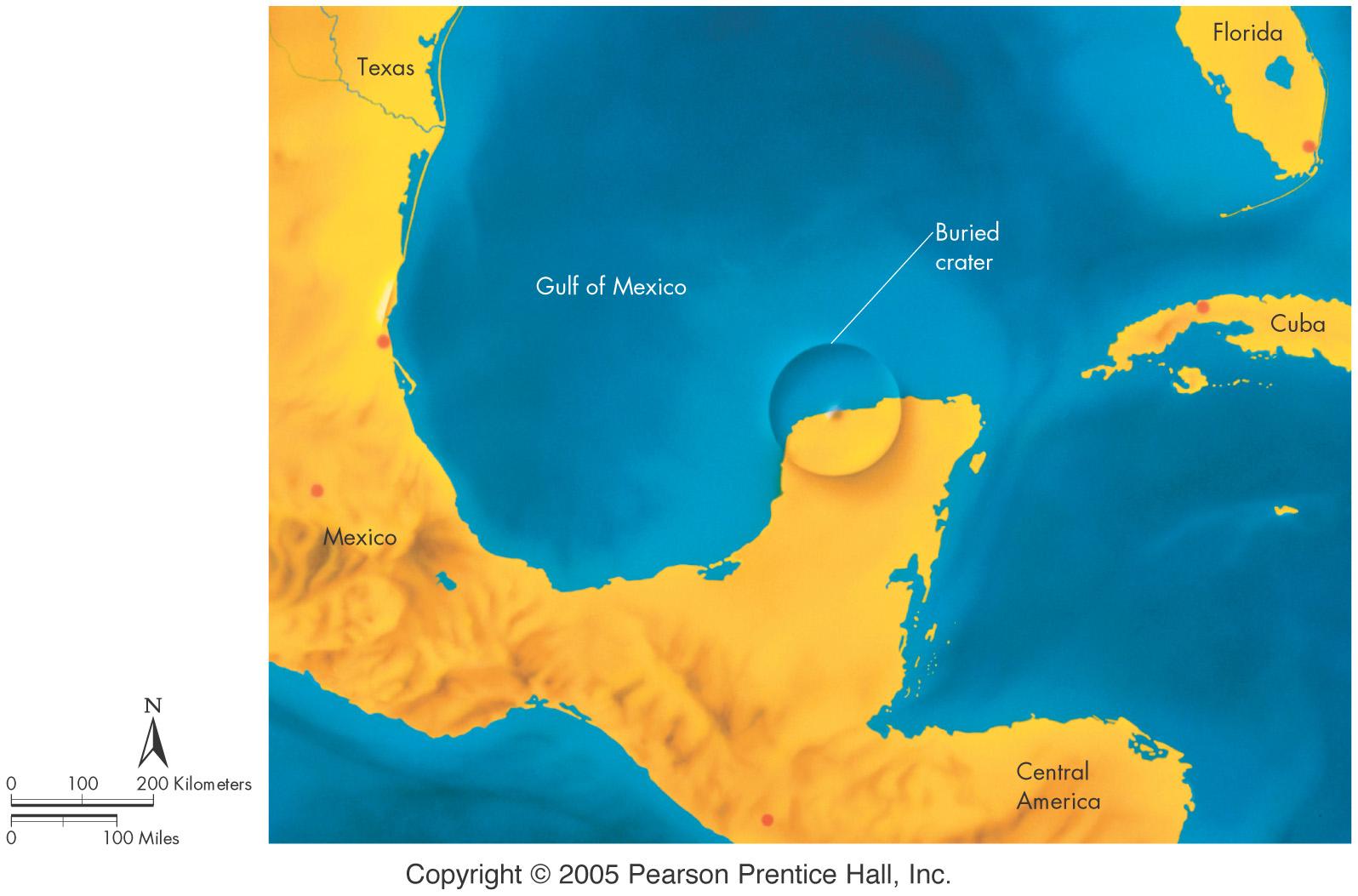 La posizione e le dimensioni del cratere dello Yucatan