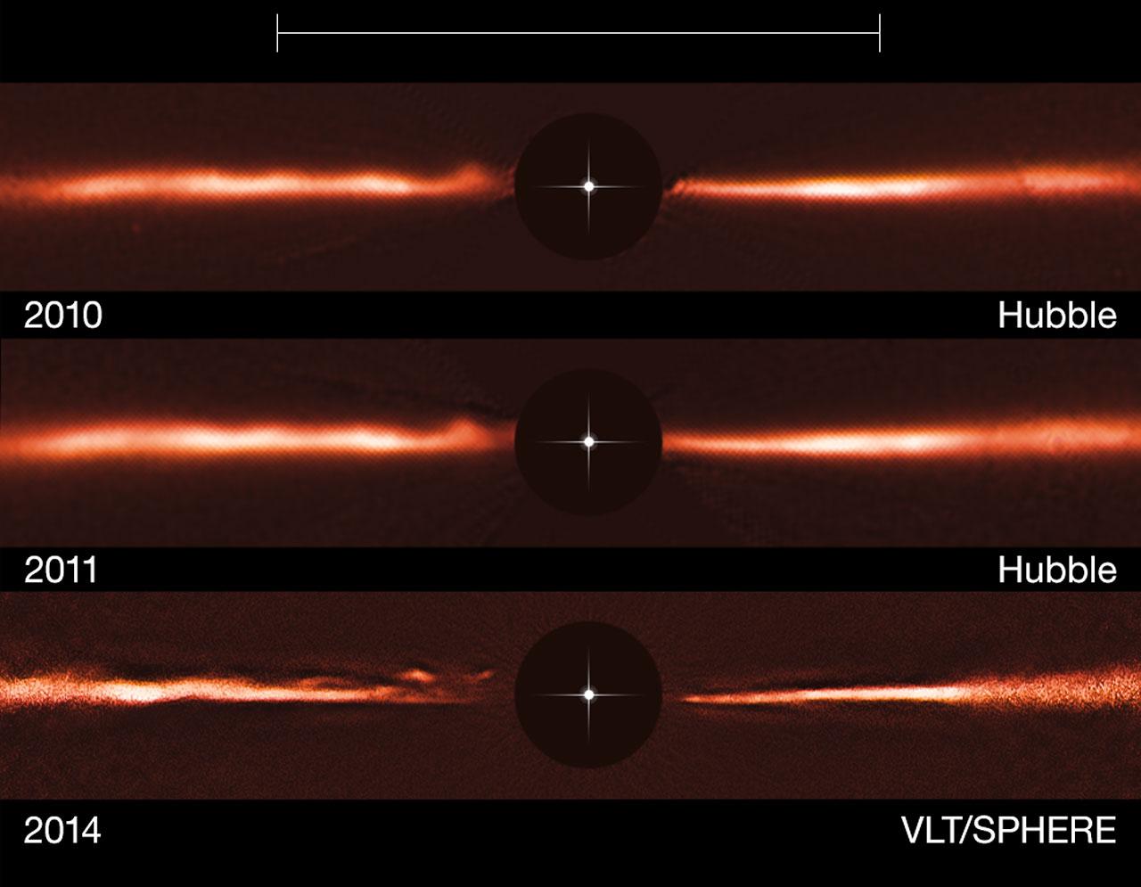 Le tre immagini che permettono di vedere l'evoluzione dell'onda che attraversa il disco di AU Mic. Le prime due sono riprese da Hubble, l'ultima da VLT attraverso SPHERE. Fonte: ESO, NASA ed ESA.