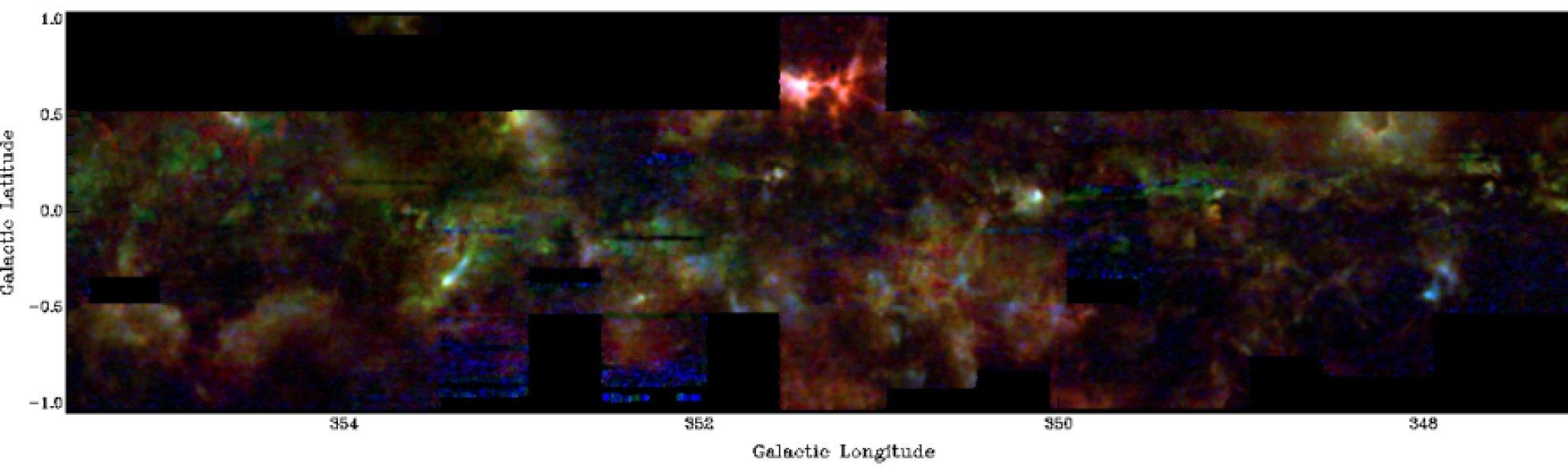 La nuova mappa della Via Lattea. Ed è solo l'inizio di una ricerca che può dare risultati molto più accurati e quantitativi. In questa versione, relativa a una certa zona (settore 348), il 12CO è in rosso, il  13CO in verde il C18O in blu.  Fonte: The Three-mm Ultimate Mopra Milky Way Survey (ThrUMMS).