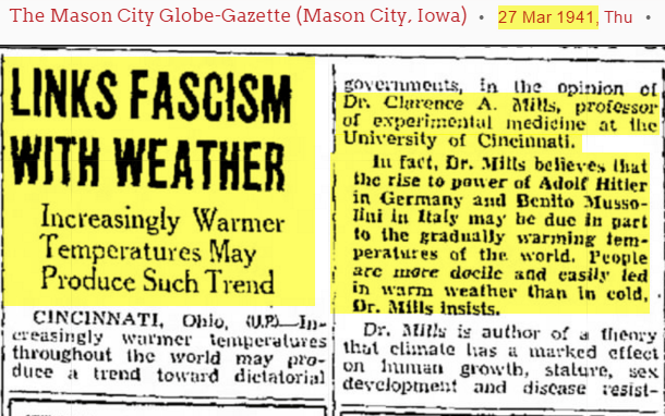 Fonte: The Mason City Globe-Gazette (Mason City, Iowaa). 27 marzo 1941