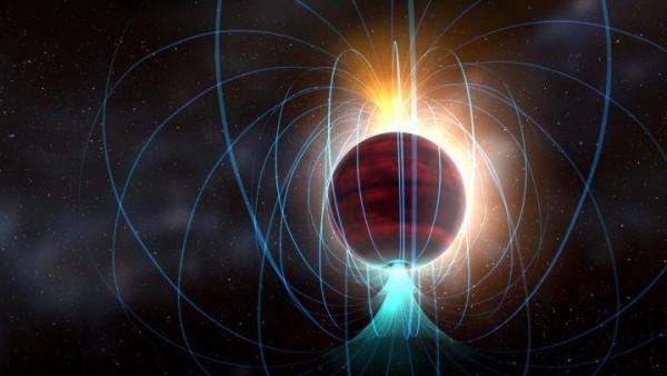 La nana rossa TVLM 513-46546 mostra un potentissimo campo magnetico associate, probabilmente, a continue e terribili eruzioni solari. Meglio non avvicinarsi troppo. Fonte: NRAO/AUI/NSF; Dana Berry / SkyWorks