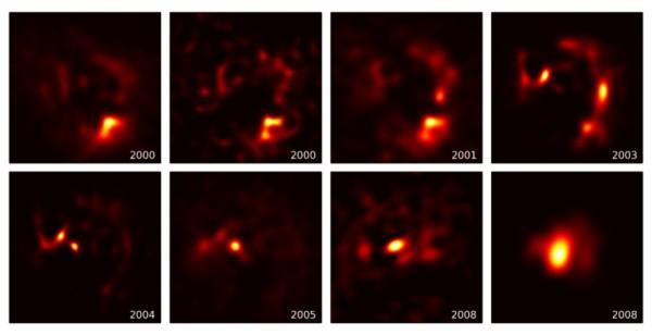 Nel giro di otto anni, la stella (o meglio ciò che ha voluto mostrarci) ha cambiato drasticamente posizione e struttura. Se non è un gioco questo…Fonte: Paul Stewart and Peter Tuthill, University of Sydney.