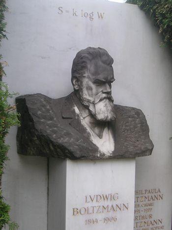 La lapide di Boltzmann, nel cimitero di Vienna, sulla quale è stata incisa la sua celebre formula per il calcolo dell'entropia.