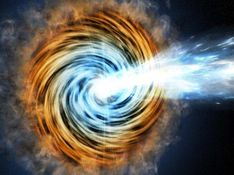 """Il momento della nascita del flusso di elettroni gamma dal lontanissimo AGN, narratori della loro magnifica avventura (l'immagine è solo una visione """"artistica"""" eseguita dall'essere umano). Fonte:M. Weiss/CfA"""
