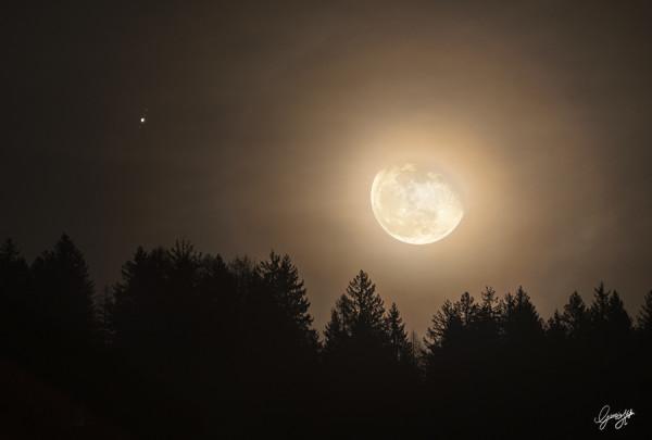 Giove e la Luna distanti appena 2 gradi