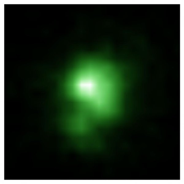 """Una tipica galassia nana del tipo """"pisello verde"""". A lei e alle sue colleghe si deve, forse, la possibilità di vedere l'Universo, dopo averlo liberato dalla nebbia della fase oscura. Le sue dimensioni sono di soli 6000 anni luce, venti volte più piccole di quella della Via Lattea. Fonte: NASA"""