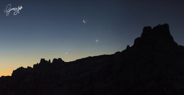 Congiunzione tra Mercurio, Venere e la Luna