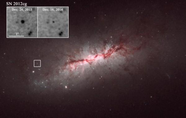 Un'immagine della supernova ripresa da Hubble. Nei riquadri si nota la differenza di luminosità osservata nel giro di circa un anno.Fonte: NASA / Hubble Space Telescope